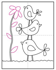 Draw Simple Birds · Art Projects for Kids Art Drawings For Kids, Bird Drawings, Easy Drawings, Flower Drawings, Birds For Kids, Art For Kids, Projects For Kids, Art Projects, Hand Embroidery