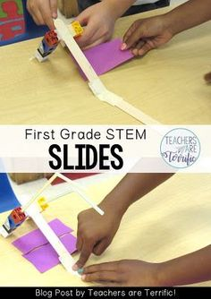 STEM Challenge: This team that has a great little slide, but the cubes are tipping over. They explained that the slides on the playground do not have ladders that go straight up- which is true.