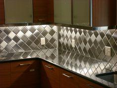 """4"""" x 4"""" Brushed Stainless Steel Tiles, Harlequin, Alternated Grain"""