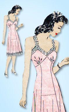 1940s Vintage Marian Martin Sewing Pattern 9766 Misses WWII Slip w Bra Top 34 B
