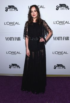 Dakota Johnson Hosts Vanity Fair's Toast to Young Hollywood!: Photo Dakota Johnson hits the red carpet while hosting the Vanity Fair and L'Oreal Paris Toast to Young Hollywood on Tuesday (February at Delilah in West Hollywood,… Dakota Johnson Style, Dakota Mayi Johnson, Dakota Style, Vanity Fair, Cristian Dior, Foundation, Dior Dress, Sheer Dress, Dress Red