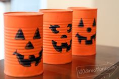 Soup can Jack-o-Lanterns... Cute and easy Halloween decor