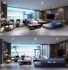 aménagement salon de luxe avec des canapés avec rangement, système de rangement mural en bois et grande porte pliante