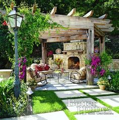Love this outdoor fireplace and pergola. #pergolafireplace