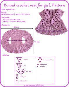 Round crochet vest for girl-free pattern. I know exactly who gets that! Round crochet vest for girl-free pattern. I know exactly who gets that! Art Au Crochet, Pull Crochet, Crochet For Kids, Crochet Crafts, Crochet Hooks, Crochet Projects, Diy Crochet, Crochet Children, Crochet Round