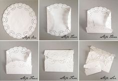 DIY: Lace Paper Doily Envelopes Today we have a cute and simple tutorial for you to try…. Diy Lace Paper, Paper Lace Doilies, Doilies Crafts, Envelope Tutorial, Diy Envelope, Diy Lace Envelopes, Budget Wedding, Diy Wedding, Diy Invitations