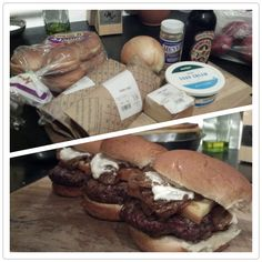 Lamb and Beef Sliders with Beer Onions, Smoked Cheddar, and Horseradish Cream Sauce