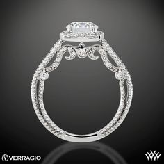 Verragio Beaded Halo Diamond Engagement Ring Ring Ring Side View.  I'm showing this to say that this is a very deep sided ring and may not feel comfortable. This type of design may be a high maintenance ring with cleaning and little diamonds being banged out.