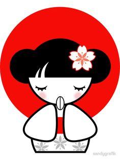 """Pray for Japan Kokeshi Doll"" Stickers by sandygrafik | Redbubble"