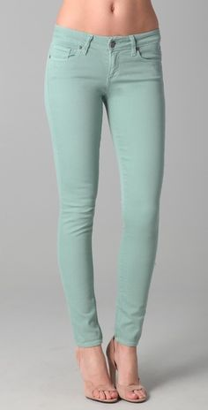 I don't quite understand my obsession with colored jeans this summer, but I love this Mint color!