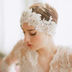 Is this vintage enough?  Oversized rhinestone and lace headpiece - Style #247  I think we can make this!