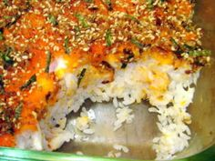 Ive substitue with unagi where I cut up into pieces, I also layer with cream cheese and avocado or cucumbers, and I will also layer with eggs before topping it off with furikaku. All these ingredients are what you would normally see in a maki roll. Baked Sushi Recipe, Sushi Recipes, Seafood Recipes, Asian Recipes, Healthy Recipes, Ethnic Recipes, Japanese Recipes, Healthy Dishes, Party Recipes