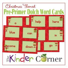 Dolch Pre-Primer Word Cards in a Christmas Elf Theme Free