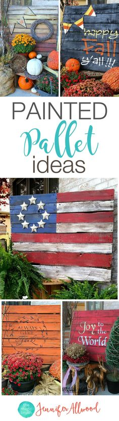 Seasonal Painted Pallet Ideas The Magic Brush Heres an easy DIY project for holiday decor for your porch Plan a night with girls to repurpose pallets as painted holiday. Wooden Pallet Crafts, Barn Wood Crafts, Diy Pallet Projects, Woodworking Projects, Craft Projects, Pallet Decorations, Woodworking Bench, Design Projects, Scrappy Quilts