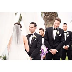 I love the look on the grooms face and really love the look on the best man's face peeking around him! THESE are my favorites...the moments :). #losangeleswedding #wedding #ceremony #belairbayclub @belairbayclub @belairbayclubevents #santabarbarawedding #californiawedding #socalwedding #groom #bride #brideandgroom
