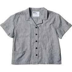 MHL FRONT POCKET SHIRT (2.427.530 IDR) ❤ liked on Polyvore featuring tops, shirts, crop tops, blouses, cotton shirts, patch shirt, yoke shirt, cotton crop top and short shirts
