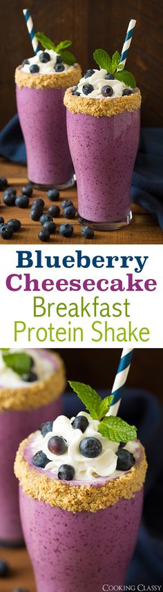 Blueberry Cheesecake Protein Breakfast Shake - 18g protein. Tastes so much like a slice of heavenly cheesecake but in a healthier shake form! Loved this! | @andwhatelse