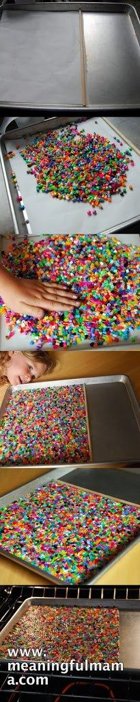 """Recently, we made the Perler Bead Bowls, which turned out great and were a lot of fun. The kids have loved having these bowls to store things. I had purchased a huge container of the beads, so I had a bunch left. I know they can make the normal stuff, but I began to think, """"What else could I make out of these?"""" A placemat was one of my ideas,… {Read More}"""