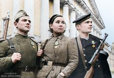 """Three recipients of the """"For the Defence of Leningrad"""" medal in Leningrad Russia [Colorized] Soviet Army, Soviet Union, Russian Fighter, Ww2 Photos, Red Army, Military History, World War Ii, Air Force, Captain Hat"""