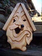 Bird House Hand Carved Small Cigar Face Wood Spirit 14""