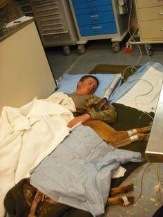 Suboficial Ryan Lee e seu cão Valdo aconchegados em um andar do hospital após serem feridos em campo. [Guerra do Afeganistão de 2011]  Ler mais: http://www.contioutra.com/42-momentos-de-verdadeira-compaixao-humana-em-face-da-violencia/#ixzz45zggcCWE