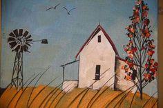 Glendine Mini Canvas Art, Small Canvas, Block Painting, South African Artists, Building Art, Landscape Paintings, Landscapes, Naive Art, Ceramic Painting