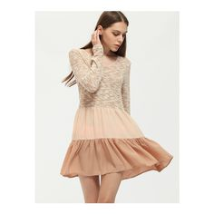 SheIn(sheinside) Apricot Long Sleeve Color Block Ruffle Dress ($8.89) ❤ liked on Polyvore featuring dresses, apricot, long-sleeve shift dresses, sleeved dresses, colorblock dress, short dresses and long sleeve short dress