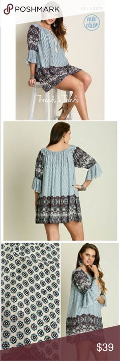 PLUS SIZE! Vintage Print Tunic Plus size vintage print tunic dress. Beautiful colors of blues and creams. Pair with leggings, skinny pants or denim.                                                                                          Made of 65% cotton, 35% polyester. Striped Threads & Trends Dresses