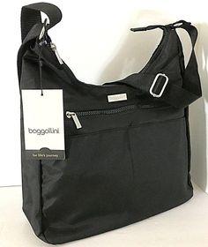 60071243d7 Details about NWT Baggallini Hobo Crossbody Black Nylon Shoulder Bag 4  Outer Pockets Cargo Zip