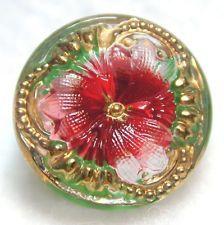 Lacy Czech Glass Button Cloverleaf Triad Pink/Ref w/ Gold Trim - FREE US SHIP