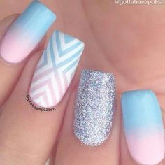 Cotton candy pink/blue nails