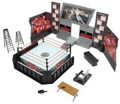 WWE Wrestling RAW Tables, Ladders and Chairs Arena Playset Ring with John Cena and Batista Action Figures