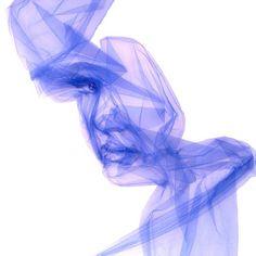 Tulle Flow: 'Awakening'. Single length of tulle fabric. 145 x 145 cm Benjamin Shine