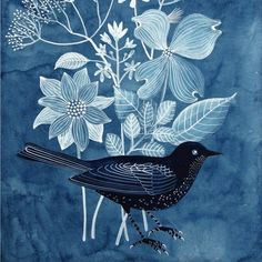 bird with flowers in blue