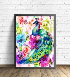 Check out this item in my Etsy shop https://www.etsy.com/listing/470071136/watercolor-peacock-painting-art-poster