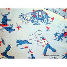 Ropin' Cowboy - Vintage Cotton Fabric - 1920s - 1950s vintage fabric - RevivalFabrics.com - Photo