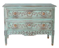 Louis XVl Style Two Drawer Carved Chest in Pale Turquoise. /why does it cost so much ;(