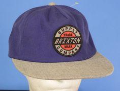Brixton Supply Company Snapback Hat Baseball Cap Adjustable Blue Grey One Size #Brixton #Snapback