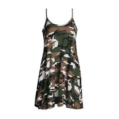 Rotita Round Neck Sleeveless Camouflage Print Shift Dress ($17) ❤ liked on Polyvore featuring dresses, green, camouflage dresses, sleeve dress, mini dress, camo dresses and green dress
