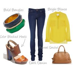 Love this blouse with jeans and a nice bag.