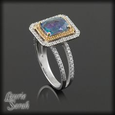 Mystic Blue Topaz Ring with Yellow Sapphire by LaurieSarahDesigns, $2879.70