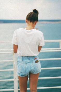 White tshirt, jeans shorts--simple