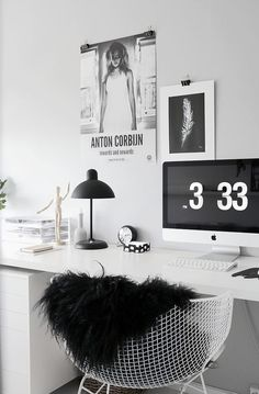 Monochrome, a pale grey for the walls, and a white desk / New office in 1-2-3!
