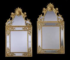 - A Near Pair of French Antique Giltwood Mirrors