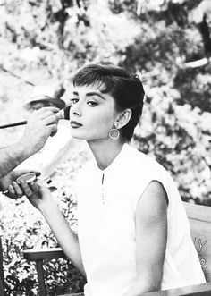 Audrey Hepburn photographed by Mark Shaw on the set of Sabrina, 1953.