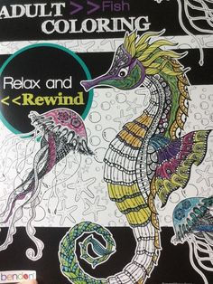 Adult Coloring Book Fish Bendon Stress Relief Relax Rewind Create