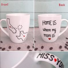 This mug is truly adorable. Best gift ever for your mom that lives in a different state. Available for all states/countries! Mug will show two