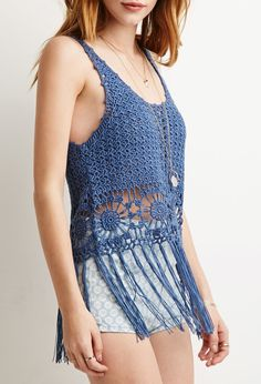 Sunburst Crochet Fringe Tank