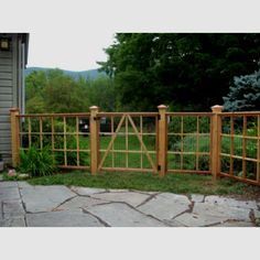 Could be a start for attractive deer fencing. House Yard, Gnome House, Fence Design, Garden Design, Red Oak Tree, Garden Gates And Fencing, Front Yard Fence, Veg Garden, Succulents Garden