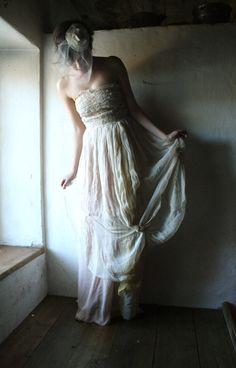 Chiffon Wedding dress blush wedding gown Long by larimeloom
